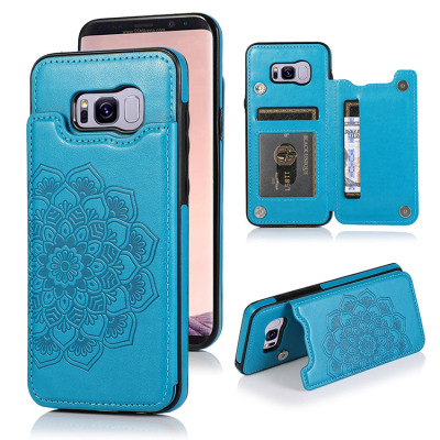 Samsung Galaxy S8 Case Casebus - Classic Mandala Wallet Phone Case - Credit Card Holder Leather Double Magnetic Buttons Shockproof Case