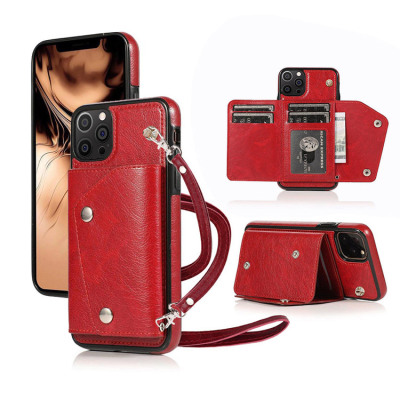 Case Casebus - Classic Fashion Wallet Phone Case (with long strap) - Credit Card Holder Leather Handbag Purse Wrist Strap Protective Case