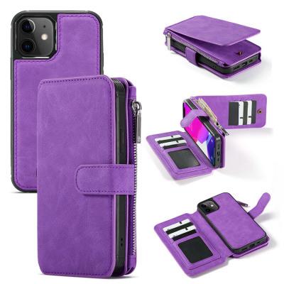 Case Casebus - Classic Detachable Magnetic Wallet Phone Case - Leather Folio Flip Zipper Purse Credit Card Holder Case - 007#