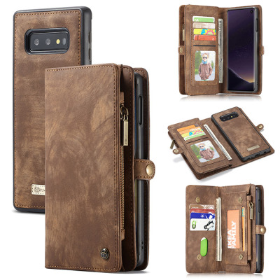 Samsung Galaxy S10e Case Casebus - Classic Detachable Magnetic Wallet Phone Case - 11 Card Slots, 2 in 1, Leather Zipper, Folio Flip, Money Pocket Clutch Case - 008#