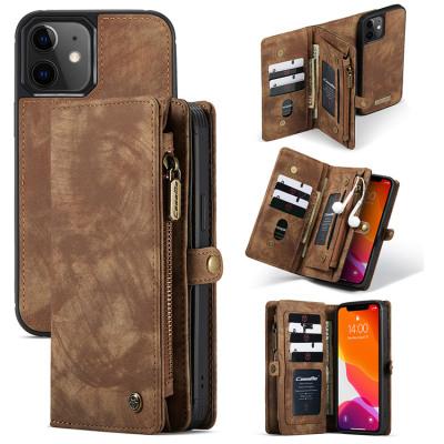 Case Casebus - Classic Detachable Magnetic Wallet Phone Case - 11 Card Slots, 2 in 1, Leather Zipper, Folio Flip, Money Pocket Clutch Case - 008#