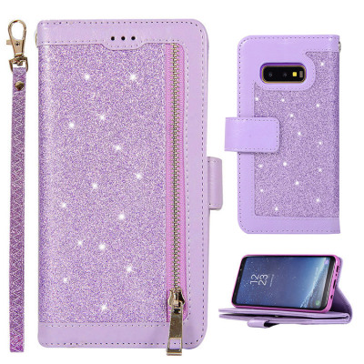 Samsung Galaxy S10e Case Casebus - Glitter Bling 9 Cards Slots Wallet Phone Case - Leather Flip Zipper Kickstand Protective Case