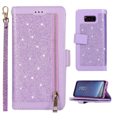 Samsung Galaxy S8 Case Casebus - Glitter Bling 9 Cards Slots Wallet Phone Case - Leather Flip Zipper Kickstand Protective Case