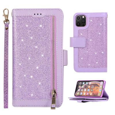 Case Casebus - Glitter Bling 9 Cards Slots Wallet Phone Case - Leather Flip Zipper Kickstand Protective Case