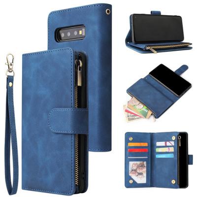 Samsung Galaxy S8 Case Casebus - Classic Flipper Wallet Phone Case - Premium Retro Leather Folio Zipper Magnetic Closure Stand Holder with Wrist Strap Shockproof Case
