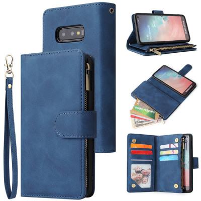 Samsung Galaxy S10e Case Casebus - Classic Flipper Wallet Phone Case - Premium Retro Leather Folio Zipper Magnetic Closure Stand Holder with Wrist Strap Shockproof Case