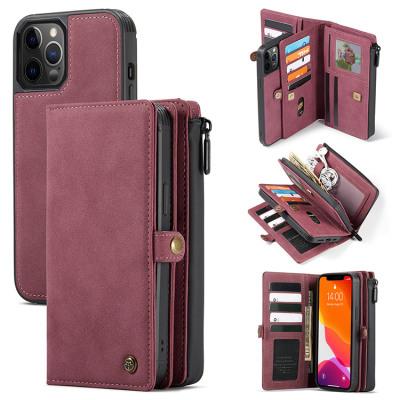Case Casebus - Detachable Magnetic Wallet Phone Case - 15 Card Slots, High Capacity, Super Handmade Leather Zipper, Shockproof Case - 018#