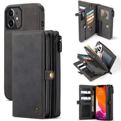 Samsung Galaxy S10e Case Casebus - Detachable Magnetic Wallet Phone Case - 15 Card Slots, High Capacity, Super Handmade Leather Zipper, Shockproof Case - 018#