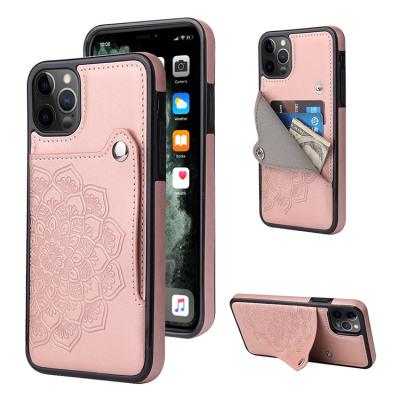 Case Casebus - Slim Mandala Wallet Phone Case - Premium Leather, Credit Card Holder, Button Closure, Kickstand Shockproof Case