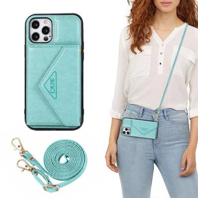 Case Casebus - Crossbody Multi-Function Wallet Phone Case - Premium Leather, Magnetic Flip Folio Purse, Credit Card Holder, Adjustable Removable Strap, Shockproof Case