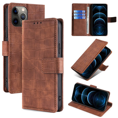 Casebus - Crocodile Pattern Wallet Phone Case - Card Holders Cash Pocket Kickstand and Magnetic Closure Flip Folio Cover