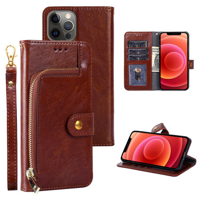 Casebus - Zipper Wallet Phone Case - Credit Card Holder Slot Leather Flip Kickstand Magnetic Protective Cover